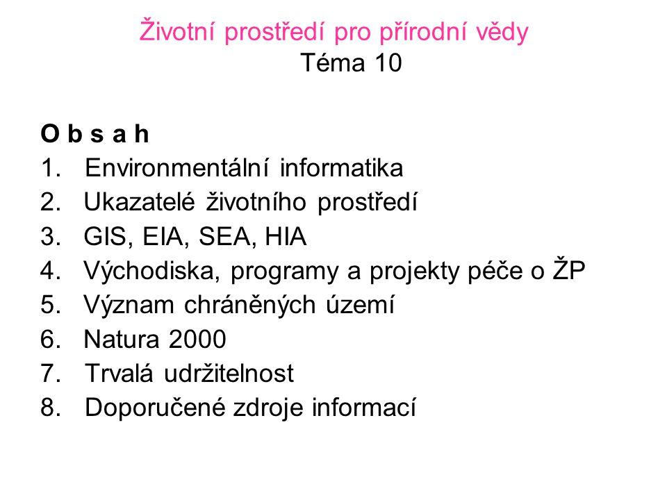 Životní prostředí pro přírodní vědy Téma 10 O b s a h 1.Environmentální informatika 2.
