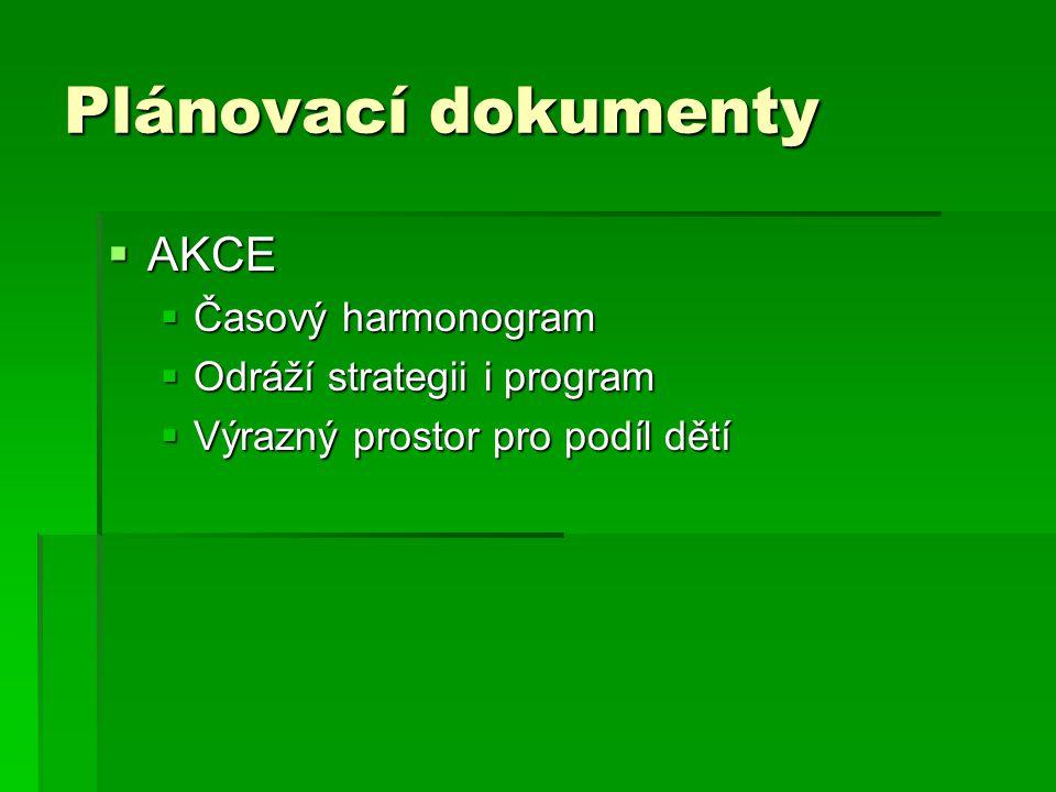 Plánovací dokumenty  AKCE  Časový harmonogram  Odráží strategii i program  Výrazný prostor pro podíl dětí