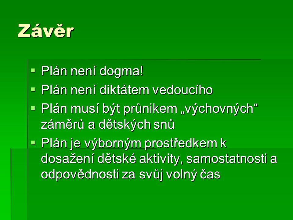 Závěr  Plán není dogma.