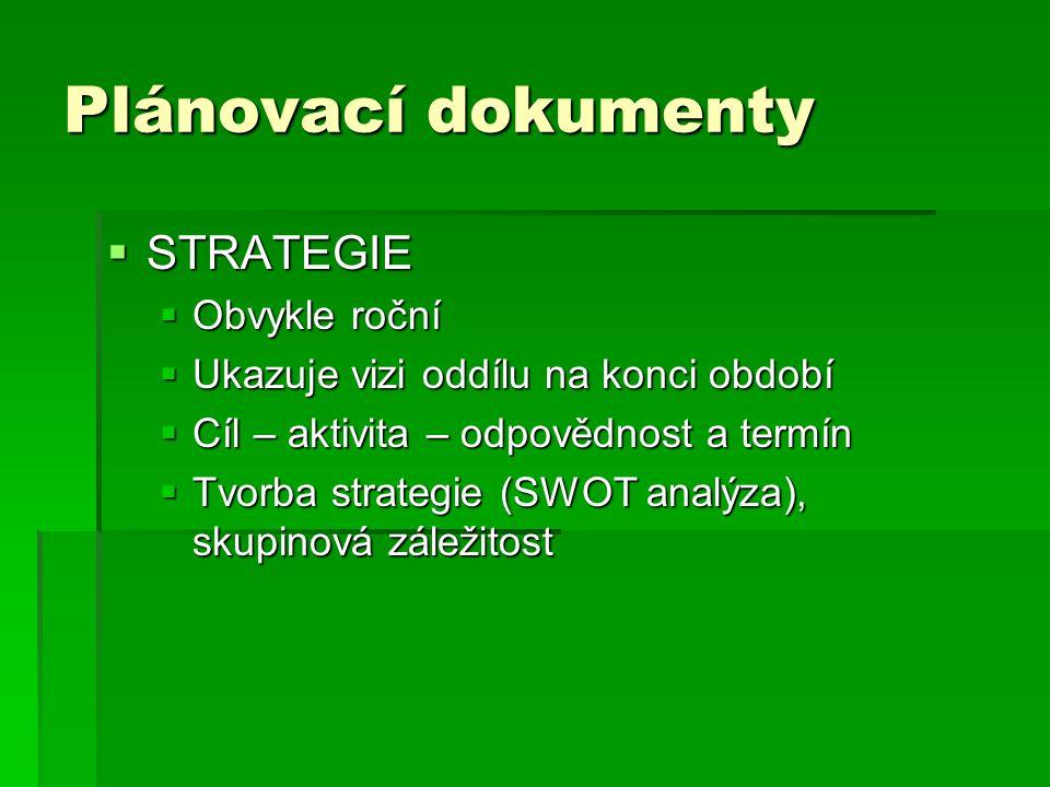 Plánovací dokumenty  STRATEGIE  Obvykle roční  Ukazuje vizi oddílu na konci období  Cíl – aktivita – odpovědnost a termín  Tvorba strategie (SWOT analýza), skupinová záležitost