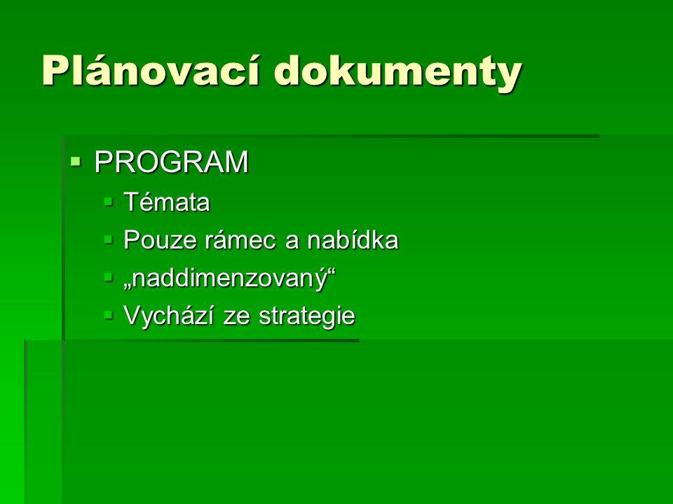 """Plánovací dokumenty  PROGRAM  Témata  Pouze rámec a nabídka  """"naddimenzovaný  Vychází ze strategie"""