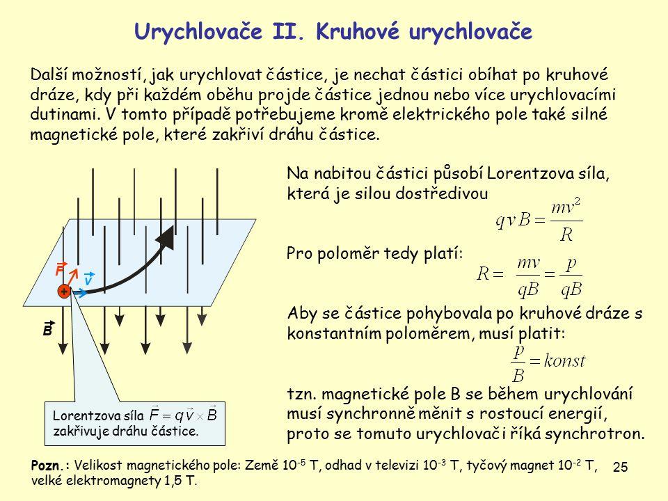 25 Na nabitou částici působí Lorentzova síla, která je silou dostředivou Pro poloměr tedy platí: Aby se částice pohybovala po kruhové dráze s konstantním poloměrem, musí platit: tzn.