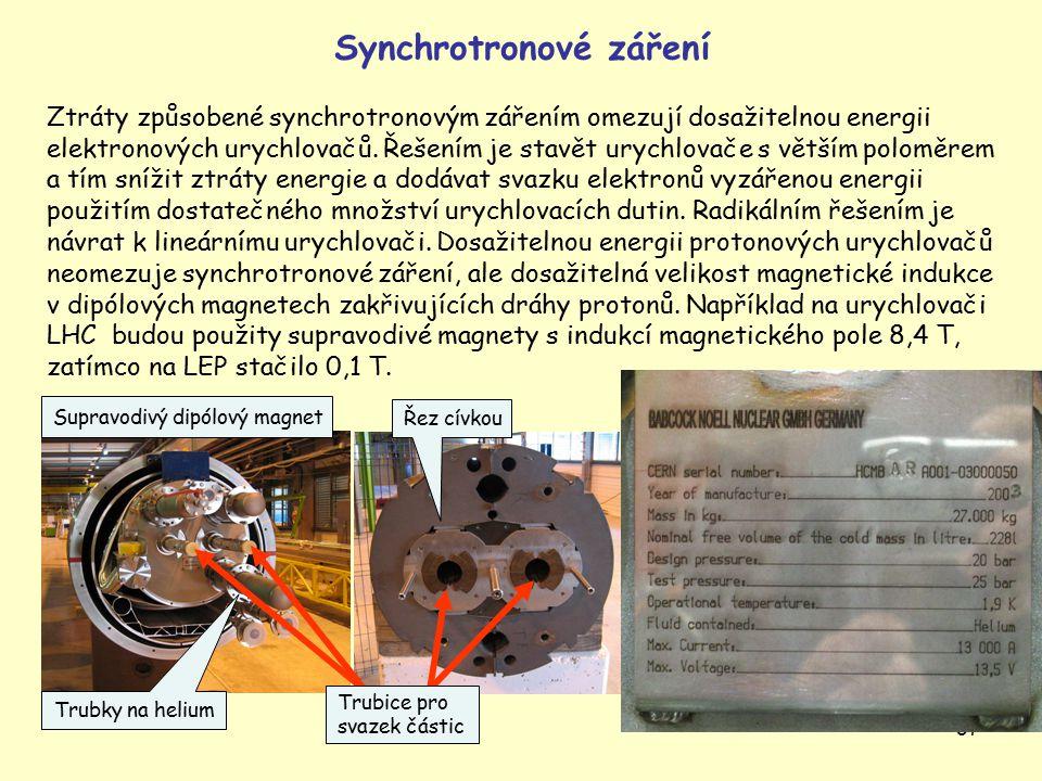 37 Synchrotronové záření Ztráty způsobené synchrotronovým zářením omezují dosažitelnou energii elektronových urychlovačů.