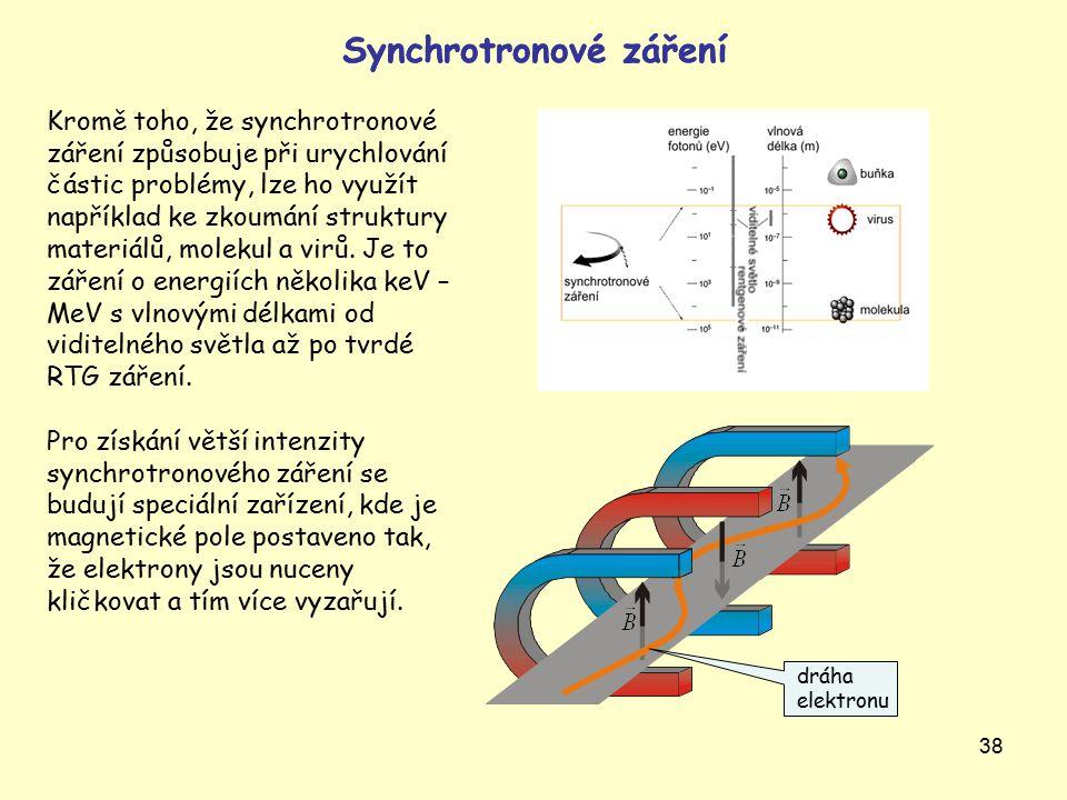 38 Synchrotronové záření Kromě toho, že synchrotronové záření způsobuje při urychlování částic problémy, lze ho využít například ke zkoumání struktury materiálů, molekul a virů.