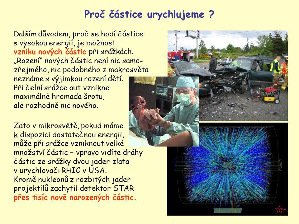 """4 Dalším důvodem, proč se hodí částice s vysokou energií, je možnost vzniku nových částic při srážkách. """"Rození"""" nových částic není nic samo- zřejmého"""