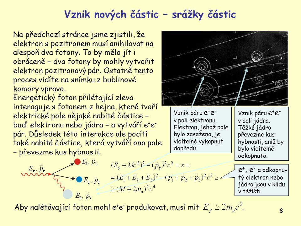 9 Spočtěme prahovou energii (tedy nejmenší dostatečnou energii) pro vznik antiprotonu ve srážce urychleného protonu na klidném terčovém protonu.