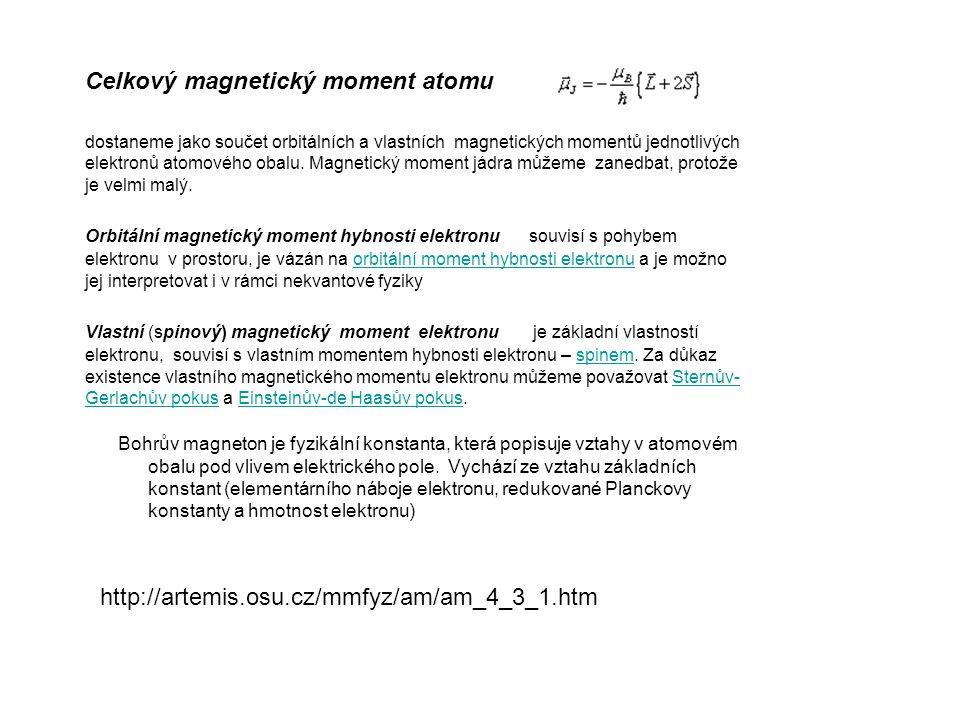Celkový magnetický moment atomu dostaneme jako součet orbitálních a vlastních magnetických momentů jednotlivých elektronů atomového obalu.