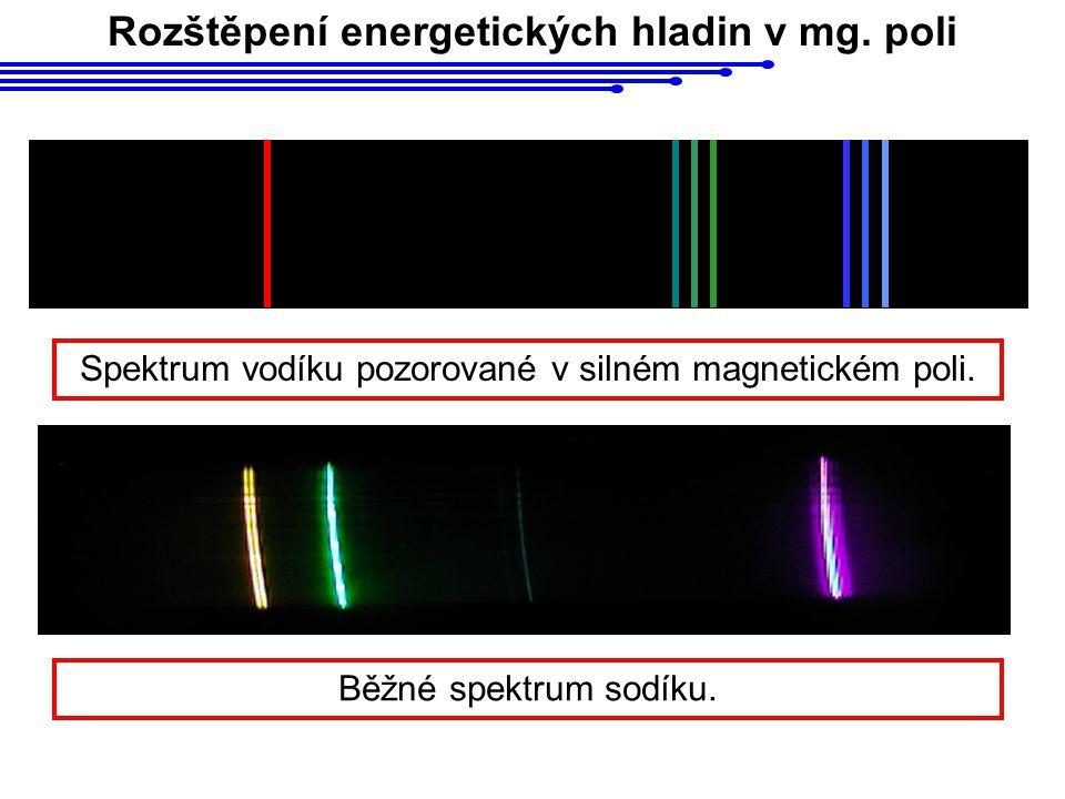 Rozštěpení energetických hladin v mg.poli Spektrum vodíku pozorované v silném magnetickém poli.