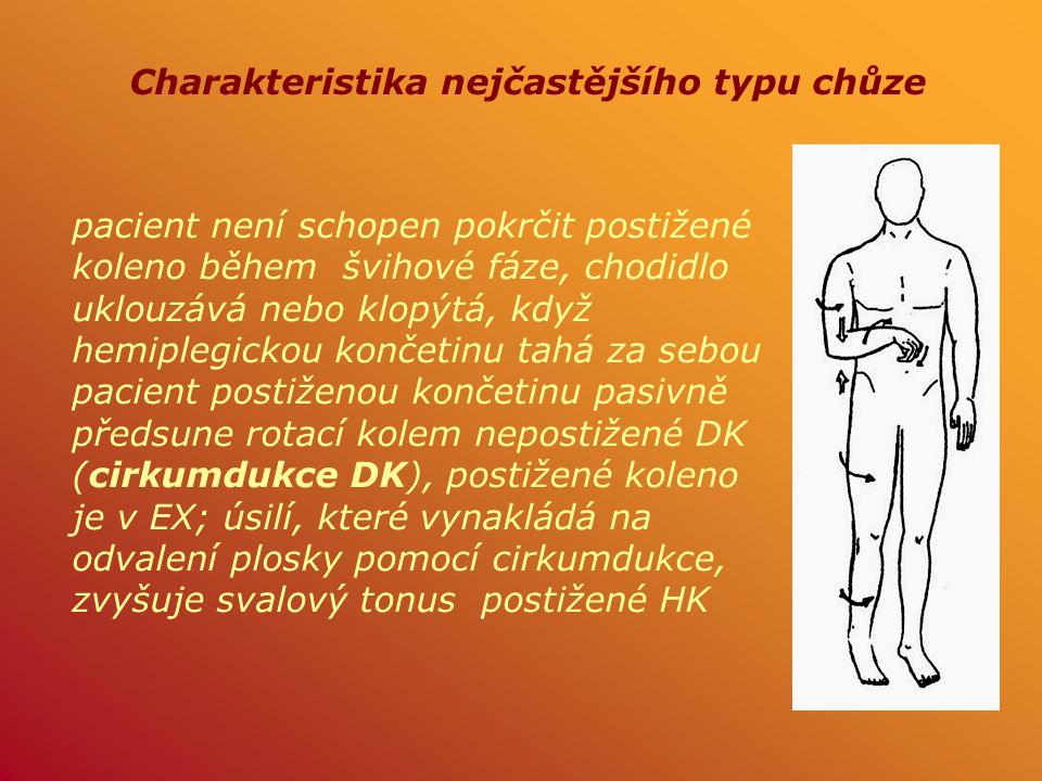 pacient není schopen pokrčit postižené koleno během švihové fáze, chodidlo uklouzává nebo klopýtá, když hemiplegickou končetinu tahá za sebou pacient