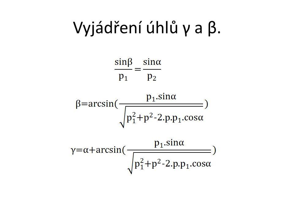 Vyčíslení úhlů γ a β. β = 41,8° γ = 91,8°