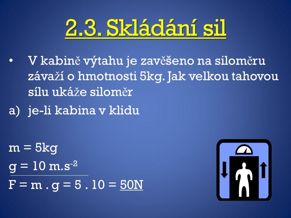 2.3. Skládání sil V kabin ě výtahu je zav ě šeno na silom ě ru záva ž í o hmotnosti 5kg. Jak velkou tahovou sílu uká ž e silom ě r a)je-li kabina v kl