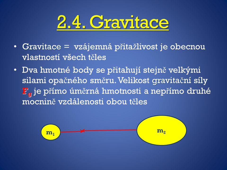2.4. Gravitace Gravitace Gravitace = vzájemná p ř ita ž livost je obecnou vlastností všech t ě les gravita č ní síly F g Dva hmotné body se p ř itahuj