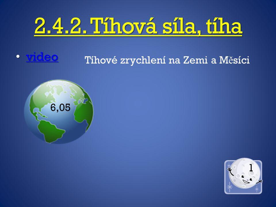 2.4.2. Tíhová síla, tíha video video video Tíhové zrychlení na Zemi a M ě síci 6,05 1