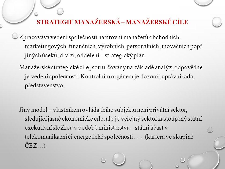 STRATEGIE MANAŽERSKÁ – MANAŽERSKÉ CÍLE Zpracovává vedení společnosti na úrovni manažerů obchodních, marketingových, finančních, výrobních, personálníc
