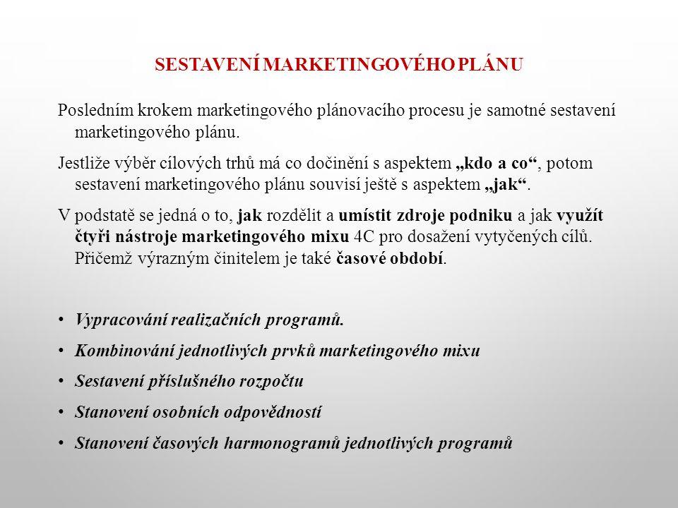 SESTAVENÍ MARKETINGOVÉHO PLÁNU Posledním krokem marketingového plánovacího procesu je samotné sestavení marketingového plánu. Jestliže výběr cílových