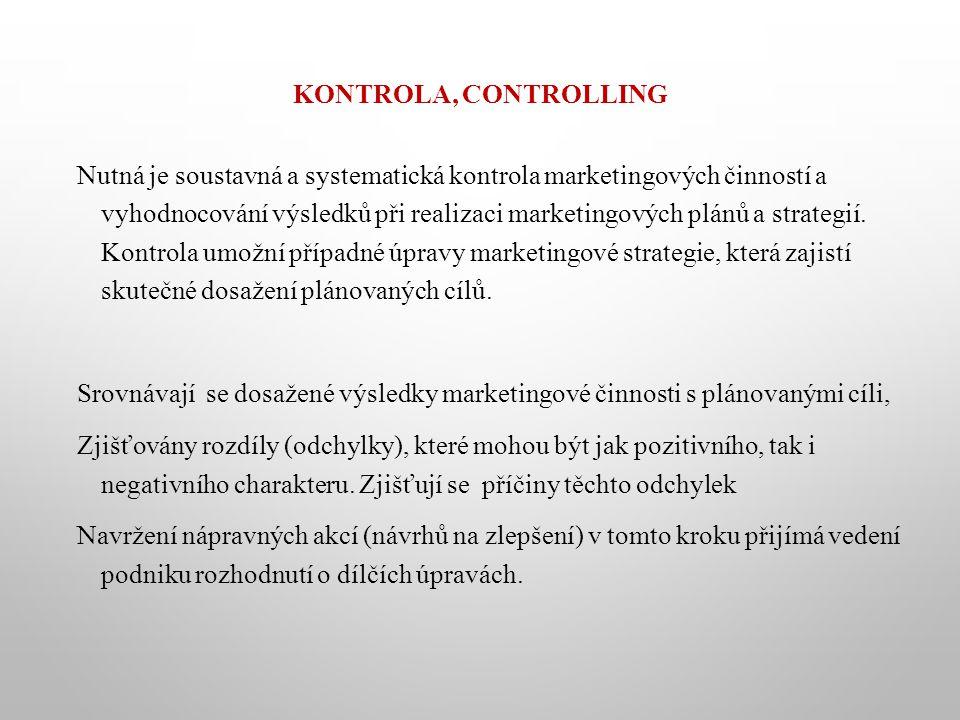 KONTROLA, CONTROLLING Nutná je soustavná a systematická kontrola marketingových činností a vyhodnocování výsledků při realizaci marketingových plánů a