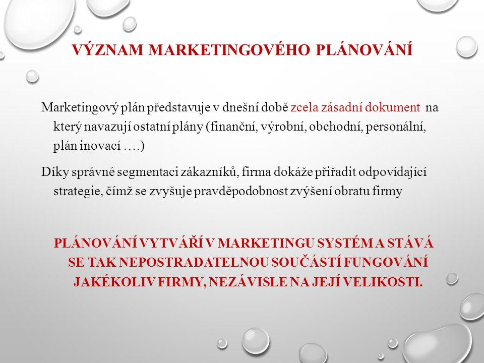 VÝZNAM MARKETINGOVÉHO PLÁNOVÁNÍ Marketingový plán představuje v dnešní době zcela zásadní dokument na který navazují ostatní plány (finanční, výrobní,