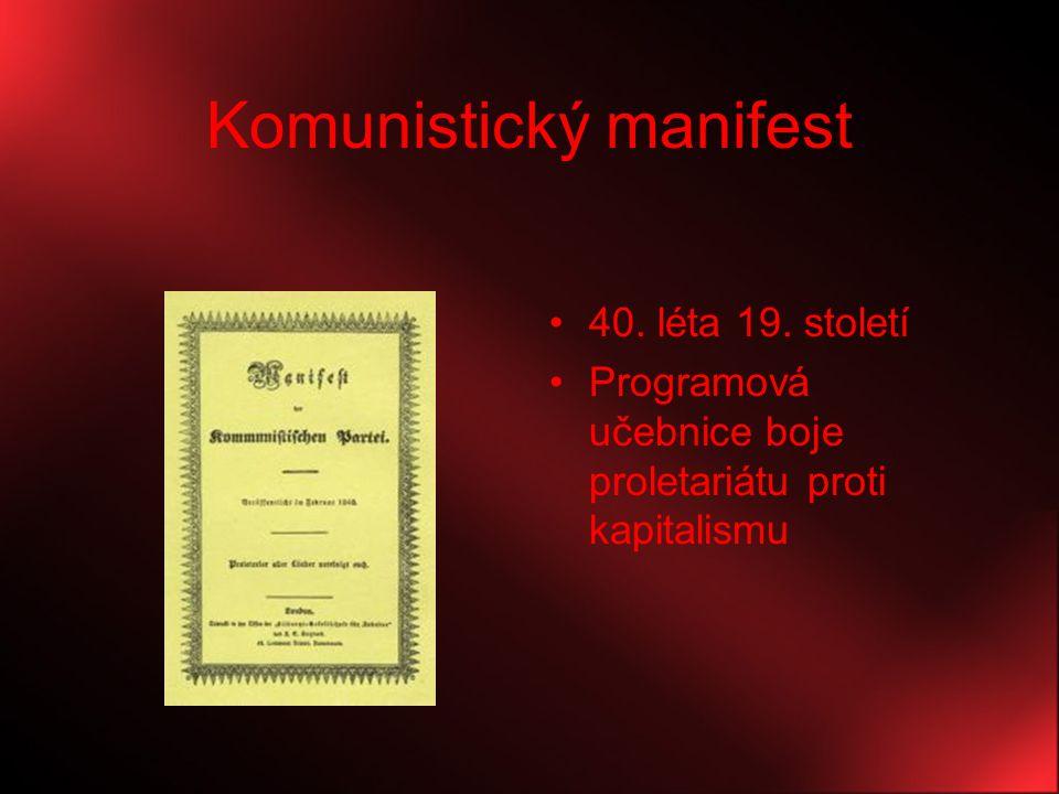 Komunistický manifest 40. léta 19. století Programová učebnice boje proletariátu proti kapitalismu