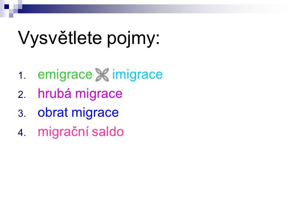 Vysvětlete pojmy: 1. emigrace  imigrace 2. hrubá migrace 3. obrat migrace 4. migrační saldo