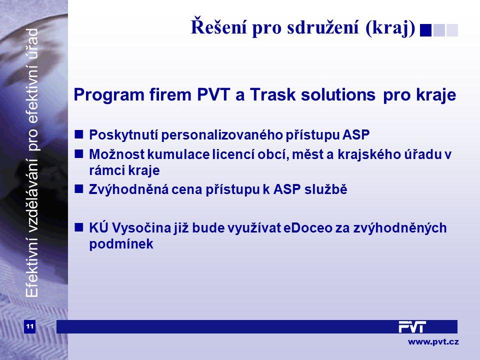 11 www.pvt.cz Efektivní vzdělávání pro efektivní úřad Řešení pro sdružení (kraj) Program firem PVT a Trask solutions pro kraje Poskytnutí personalizov