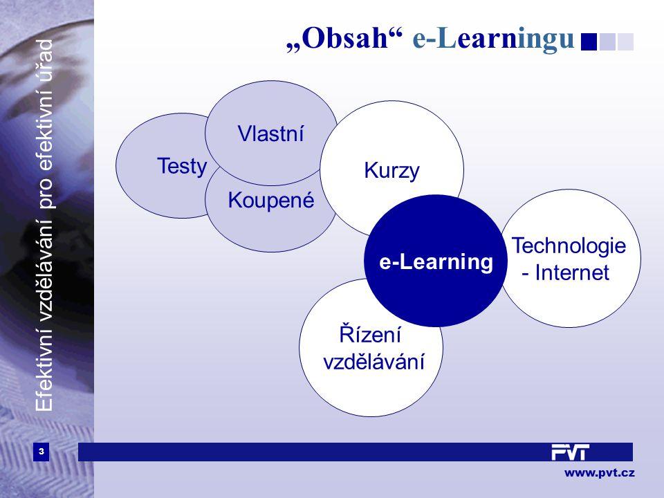 """3 www.pvt.cz Efektivní vzdělávání pro efektivní úřad """"Obsah e-Learningu Technologie - Internet Řízení vzdělávání Testy Koupené Vlastní Kurzy e-Learning"""