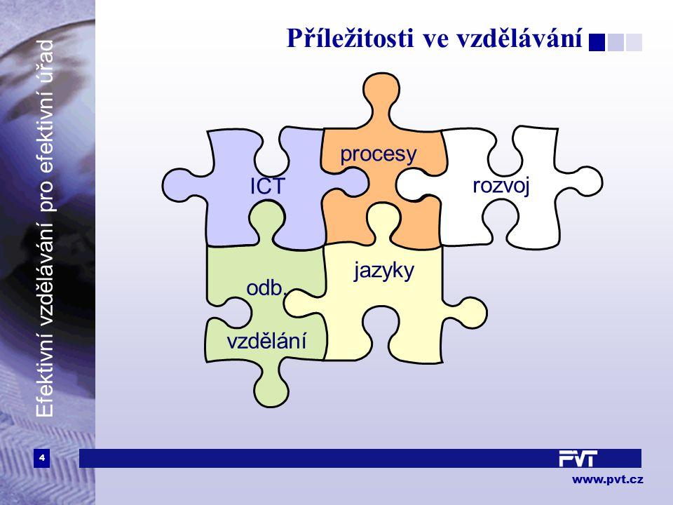 4 www.pvt.cz Efektivní vzdělávání pro efektivní úřad Příležitosti ve vzdělávání procesy jazyky odb. vzdělání ICT rozvoj