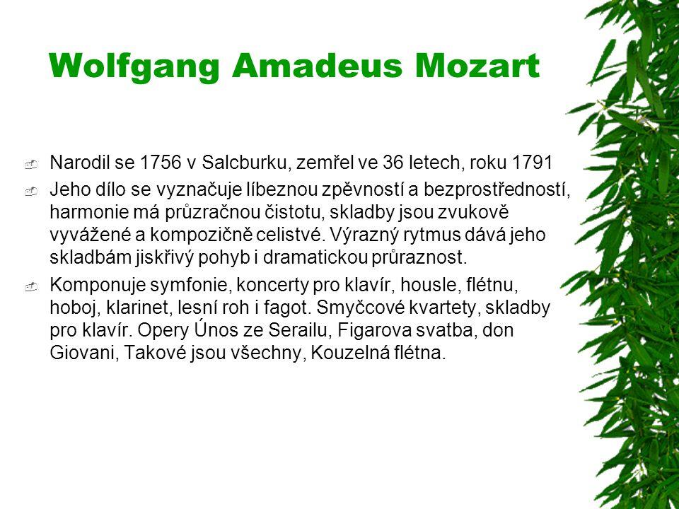 Wolfgang Amadeus Mozart  Narodil se 1756 v Salcburku, zemřel ve 36 letech, roku 1791  Jeho dílo se vyznačuje líbeznou zpěvností a bezprostředností,