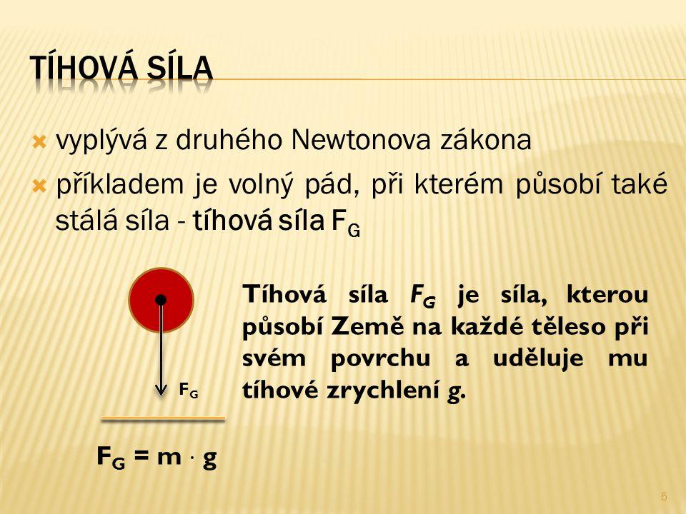  vyplývá z druhého Newtonova zákona  příkladem je volný pád, při kterém působí také stálá síla - tíhová síla F G FGFG Tíhová síla F G je síla, kterou působí Země na každé těleso při svém povrchu a uděluje mu tíhové zrychlení g.