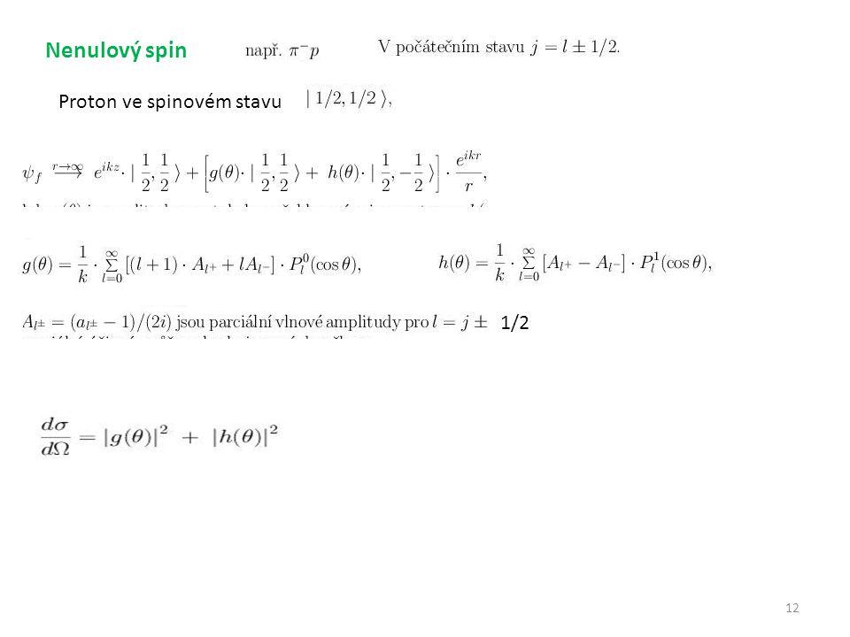 Nenulový spin Proton ve spinovém stavu 1/2 12