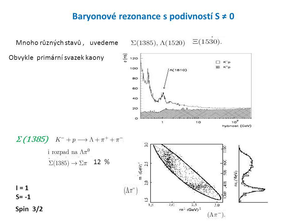 18 Baryonové rezonance s podivností S ≠ 0 Mnoho různých stavů, uvedeme Obvykle primární svazek kaony Σ (1385) I = 1 S= -1 12 % Spin 3/2