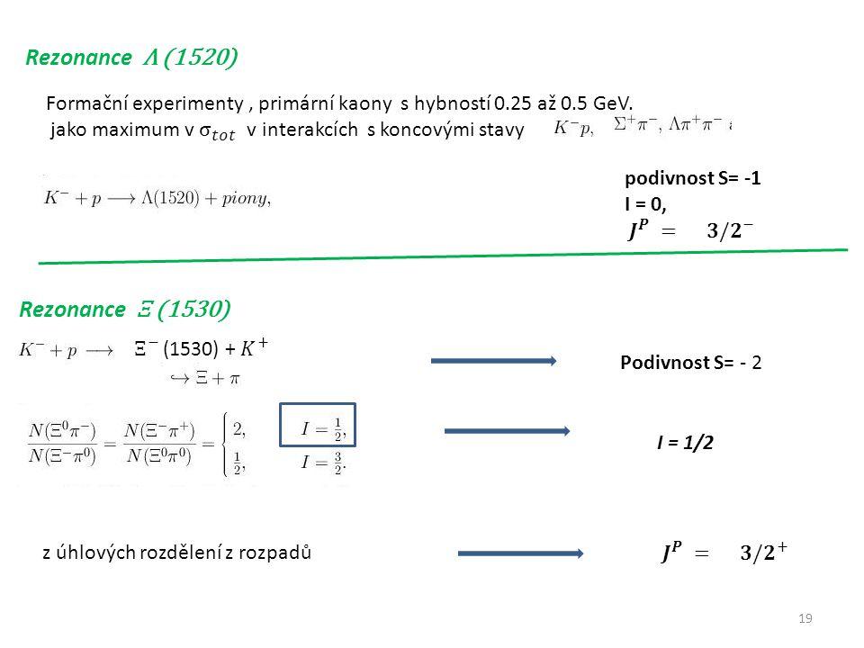 19 Rezonance Λ (1520) Rezonance Ξ (1530) z úhlových rozdělení z rozpadů Podivnost S= - 2 I = 1/2
