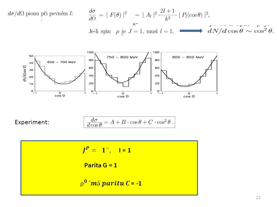 23 Experiment: Parita G = 1