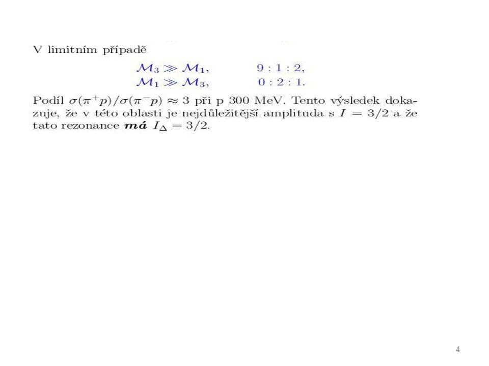 Spin a parita rezonance Δ (1232) Spin z úhlového rozdělení TS: osa z do směru Spin Předpoklad: z Měření potvrdilo Spin je roven 3/2 5