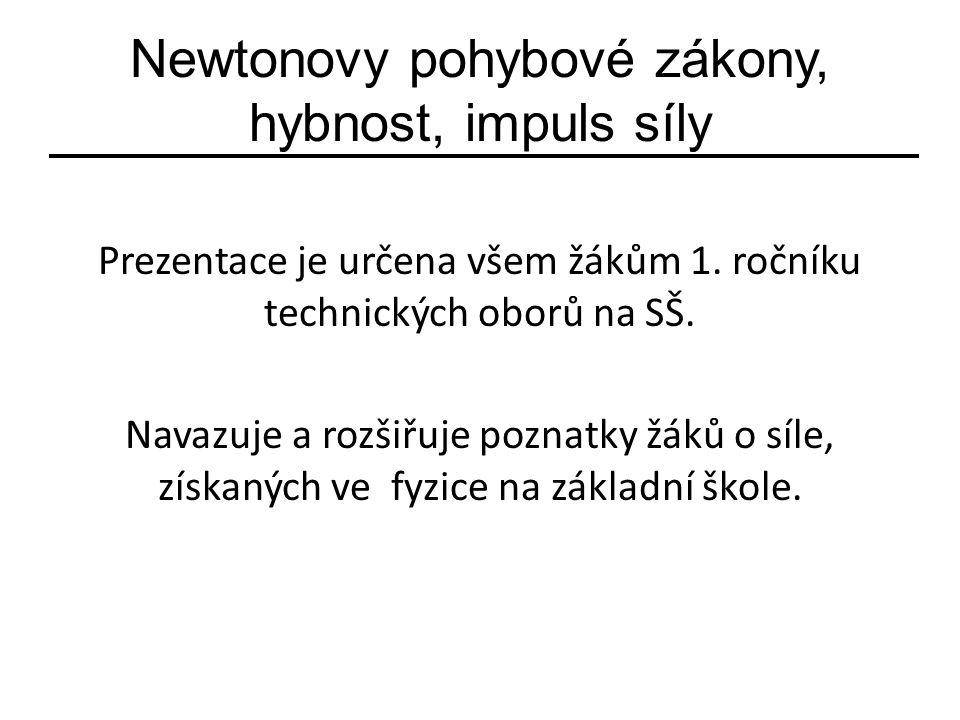 Newtonovy pohybové zákony, hybnost, impuls síly Prezentace je určena všem žákům 1.