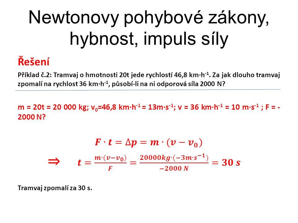 Newtonovy pohybové zákony, hybnost, impuls síly