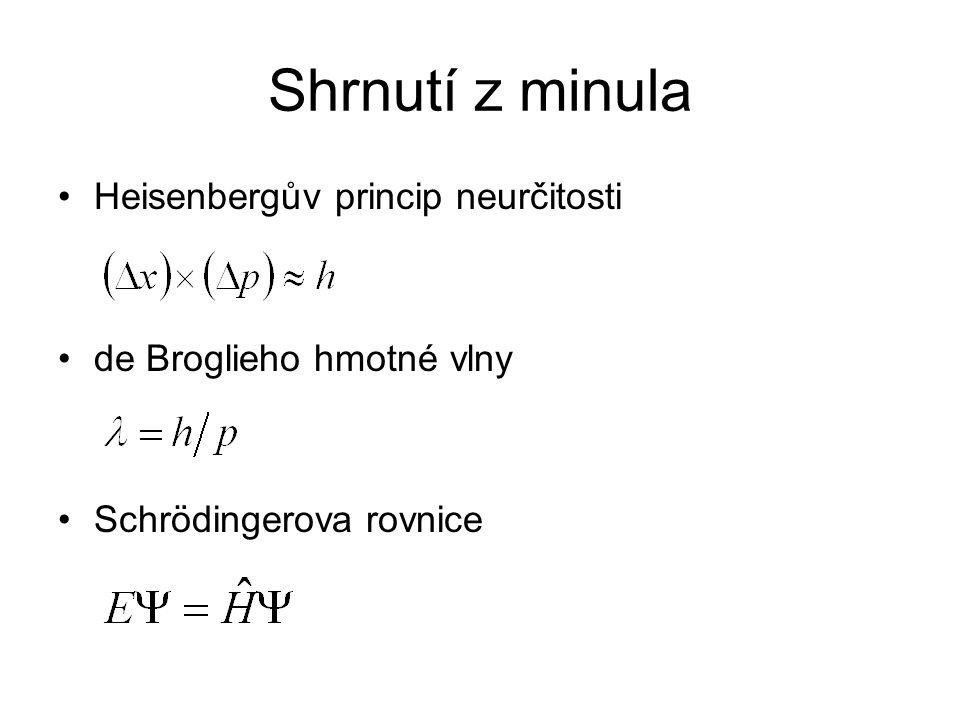 Shrnutí z minula Heisenbergův princip neurčitosti de Broglieho hmotné vlny Schrödingerova rovnice