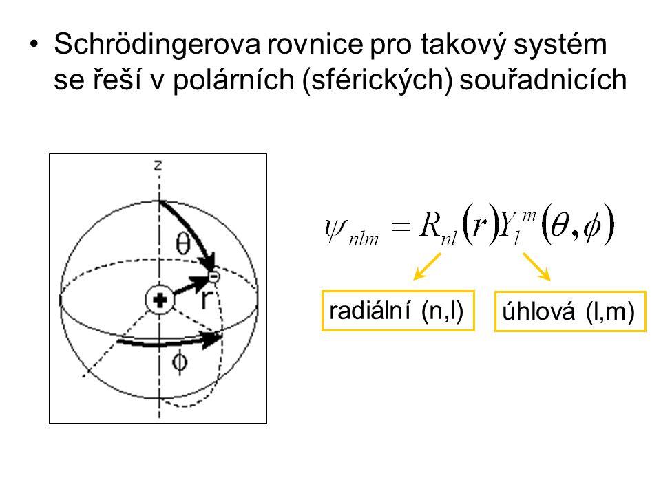Schrödingerova rovnice pro takový systém se řeší v polárních (sférických) souřadnicích radiální (n,l) úhlová (l,m)