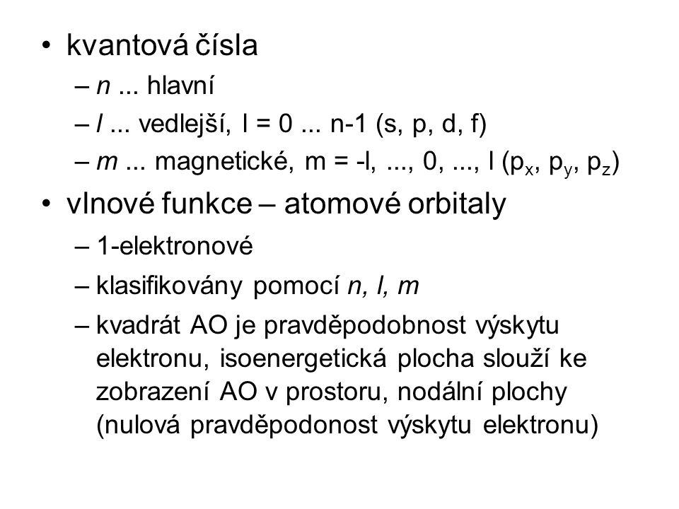 kvantová čísla –n... hlavní –l... vedlejší, l = 0... n-1 (s, p, d, f) –m... magnetické, m = -l,..., 0,..., l (p x, p y, p z ) vlnové funkce – atomové
