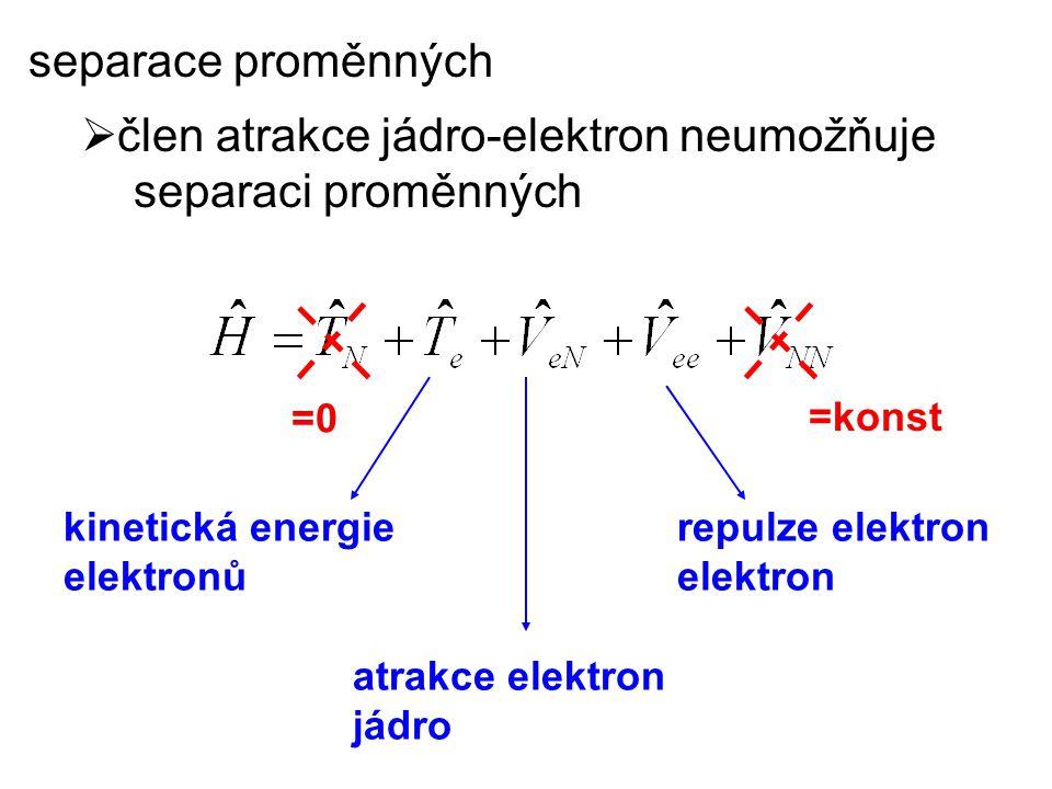 =0 =konst kinetická energie elektronů atrakce elektron jádro repulze elektron elektron separace proměnných  člen atrakce jádro-elektron neumožňuje se