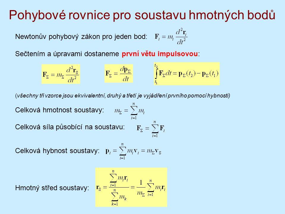 Pohybové rovnice pro soustavu hmotných bodů Newtonův pohybový zákon pro jeden bod: Sečtením a úpravami dostaneme první větu impulsovou: (všechny tři vzorce jsou ekvivalentní, druhý a třetí je vyjádření prvního pomocí hybnosti) Celková hmotnost soustavy: Celková síla působící na soustavu: Celková hybnost soustavy: Hmotný střed soustavy: