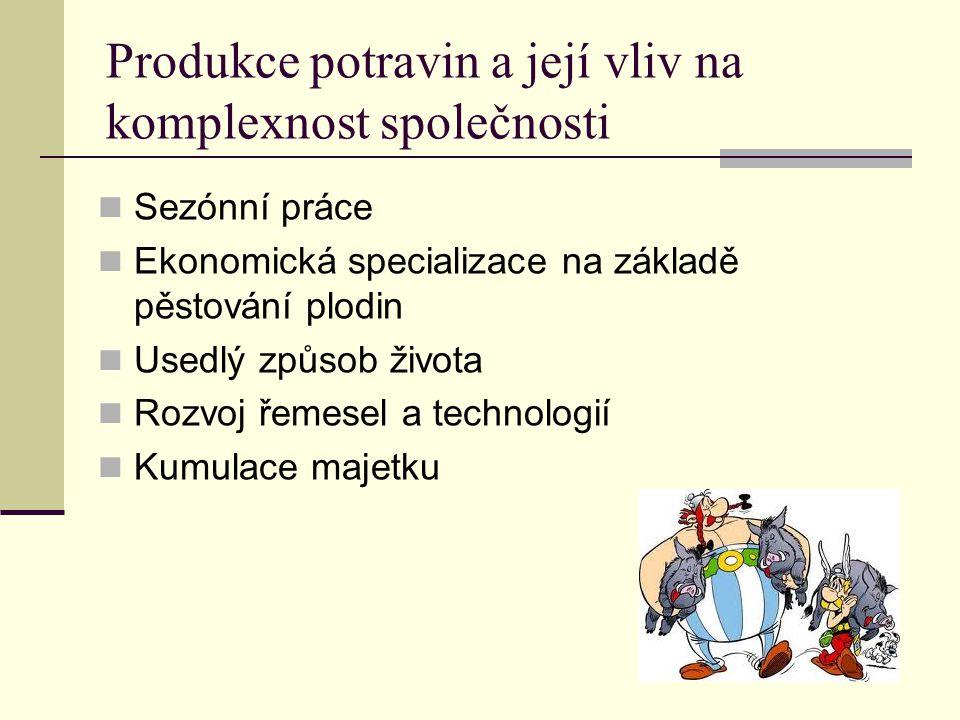 Produkce potravin a její vliv na komplexnost společnosti Sezónní práce Ekonomická specializace na základě pěstování plodin Usedlý způsob života Rozvoj řemesel a technologií Kumulace majetku