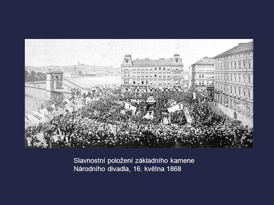  16. května 1868 - den slavnostního položení základního kamene ND  Do Prahy byly sváženy vlakem, na vozech i po řekách kameny ze všech koutů Čech a
