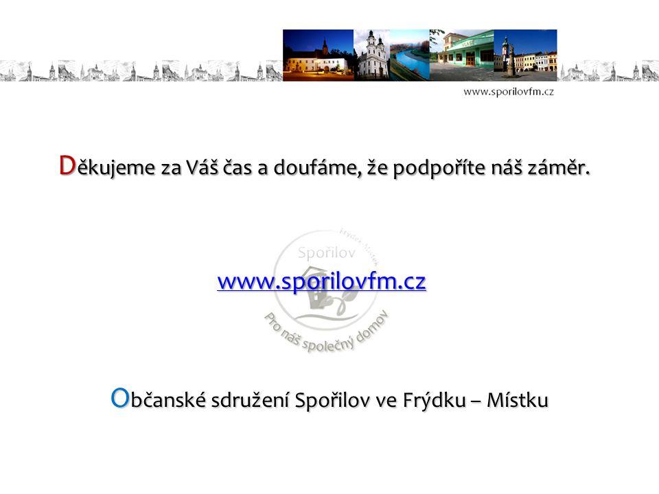 D ěkujeme za Váš čas a doufáme, že podpoříte náš záměr. O bčanské sdružení Spořilov ve Frýdku – Místku www.sporilovfm.cz