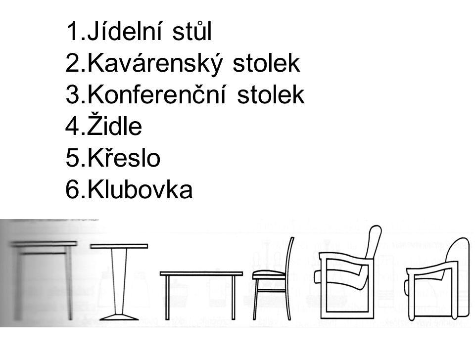 1.Jídelní stůl 2.Kavárenský stolek 3.Konferenční stolek 4.Židle 5.Křeslo 6.Klubovka