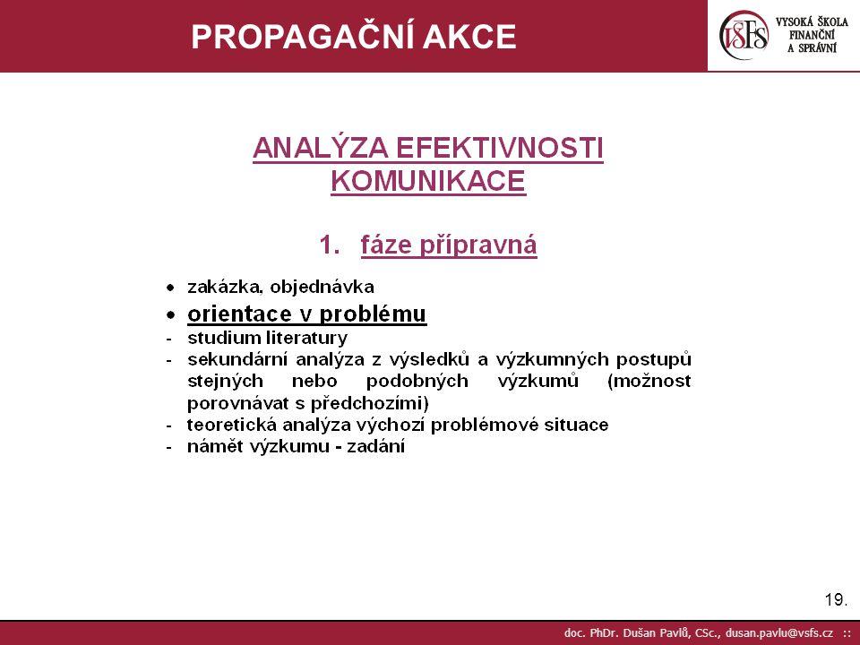 19. doc. PhDr. Dušan Pavlů, CSc., dusan.pavlu@vsfs.cz :: PROPAGAČNÍ AKCE