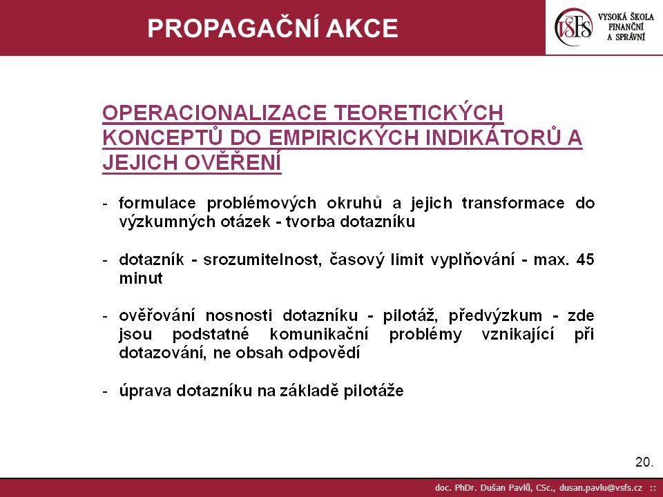 20. doc. PhDr. Dušan Pavlů, CSc., dusan.pavlu@vsfs.cz :: PROPAGAČNÍ AKCE