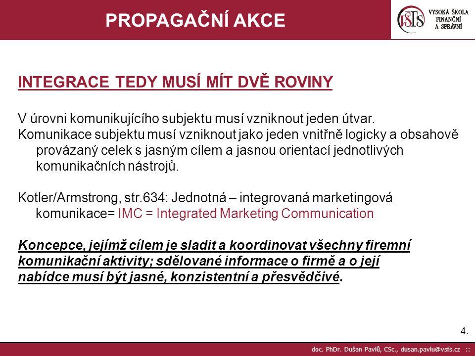 4.4. doc. PhDr. Dušan Pavlů, CSc., dusan.pavlu@vsfs.cz :: PROPAGAČNÍ AKCE INTEGRACE TEDY MUSÍ MÍT DVĚ ROVINY V úrovni komunikujícího subjektu musí vzn