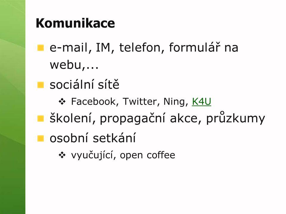 Komunikace e-mail, IM, telefon, formulář na webu,...