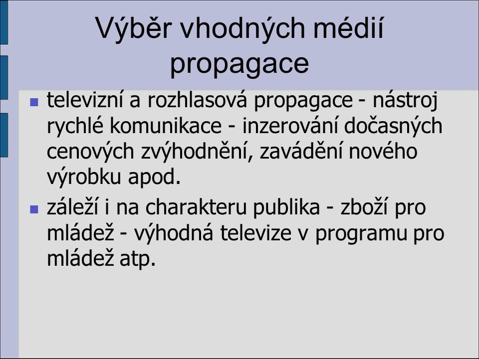 Výběr vhodných médií propagace televizní a rozhlasová propagace - nástroj rychlé komunikace - inzerování dočasných cenových zvýhodnění, zavádění nového výrobku apod.