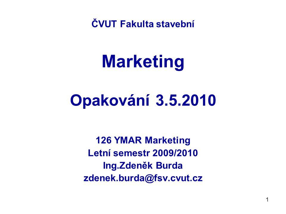 1 ČVUT Fakulta stavební Marketing Opakování 3.5.2010 126 YMAR Marketing Letní semestr 2009/2010 Ing.Zdeněk Burda zdenek.burda@fsv.cvut.cz